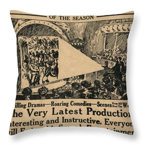 1909 Throw Pillow featuring the painting Movie Theater, C1909 by Granger