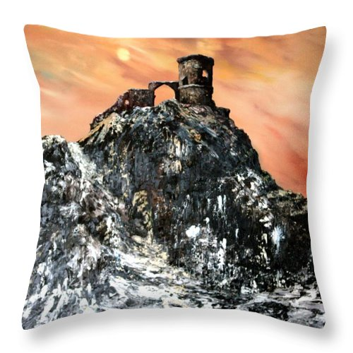 Derilicet Throw Pillow featuring the painting Mow Cop Castle Staffordshire by Jean Walker