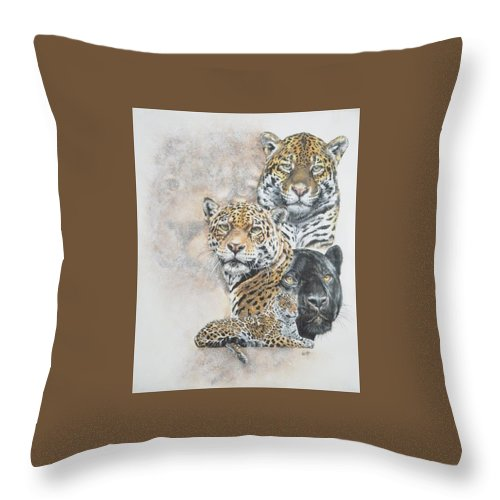 Jaguar Throw Pillow featuring the mixed media Moxie by Barbara Keith