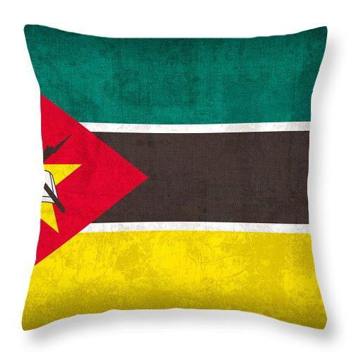 Mozambique Throw Pillow featuring the mixed media Mozambique Flag Vintage Distressed Finish by Design Turnpike