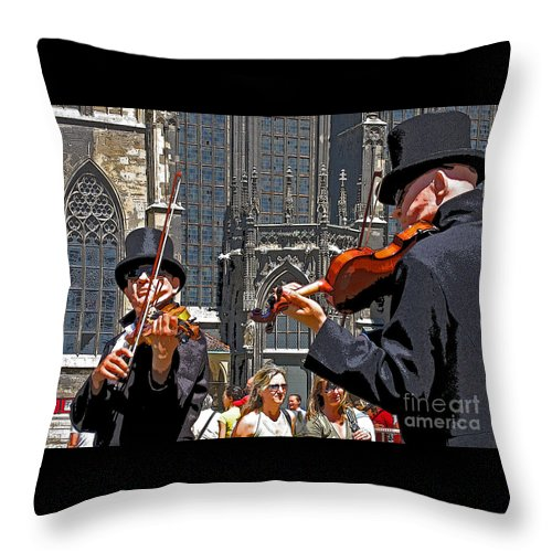 Buskers Throw Pillow featuring the photograph Mozart In Masquerade by Ann Horn