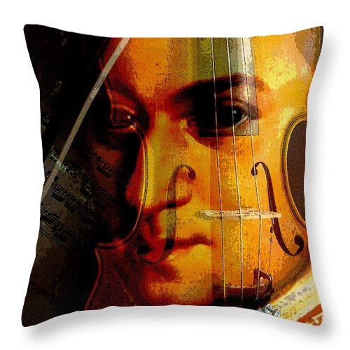 Classical Music Throw Pillow featuring the digital art Mozart by John Vincent Palozzi