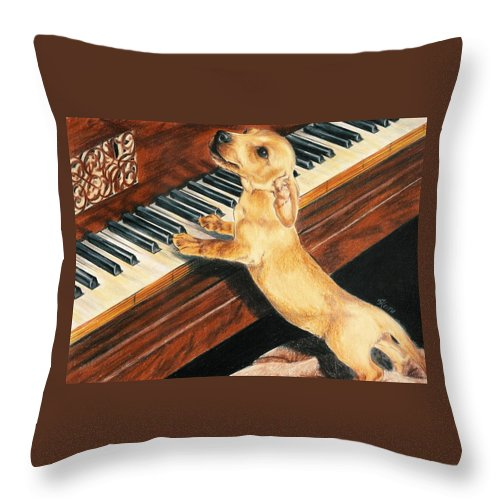 Purebred Dog Throw Pillow featuring the drawing Mozart's Apprentice by Barbara Keith