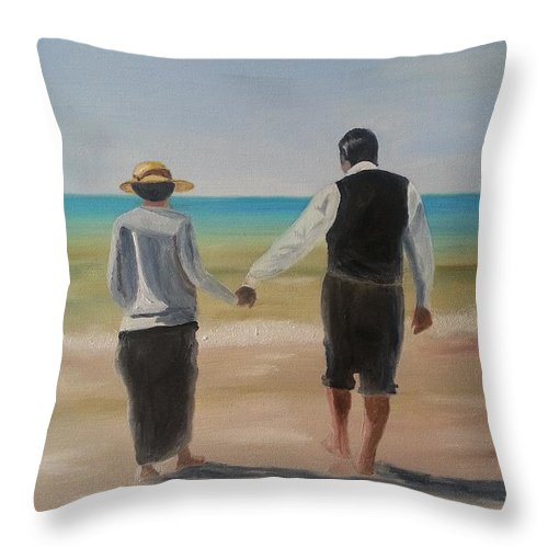 Mr. Carson Throw Pillow featuring the painting Mr. Carson And Mrs. Hughes by Bev Conover