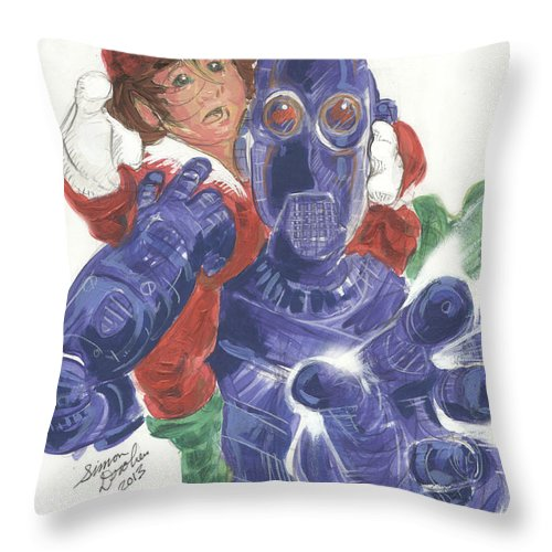 Robot Throw Pillow featuring the painting Mr. Gears In Downsized by Simon Drohen