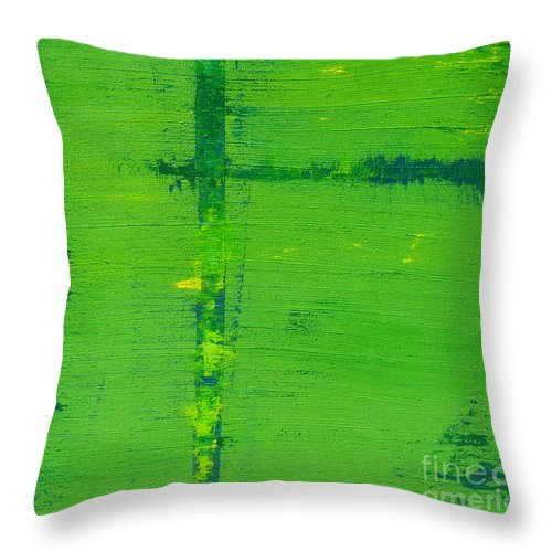 Green Throw Pillow featuring the painting Mr. Green by Amanda Sheil
