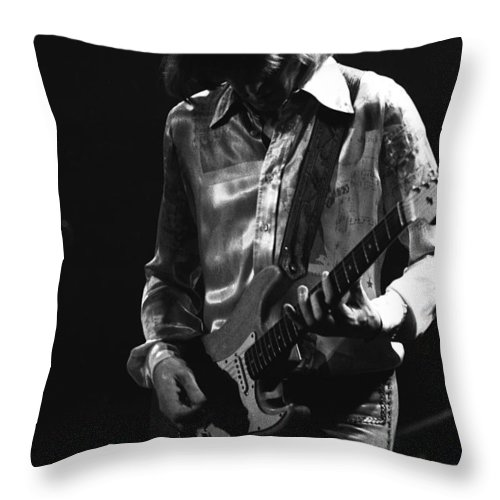Mick Ralphs Throw Pillow featuring the photograph Mick In 1977 by Ben Upham