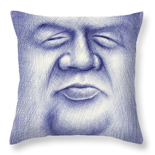 Moon Throw Pillow featuring the drawing Mr. Moon by Cristophers Dream Artistry