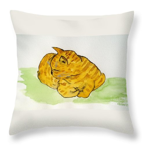 Cat Painting Throw Pillow featuring the painting Mr. Yellow by Reina Resto