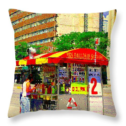 Mrs Dalloways Hotdog Stand Street Vendor Yonge And Gerrard Toronto Food Cart Scenes Cspandau Art Throw Pillow For Sale By Carole Spandau
