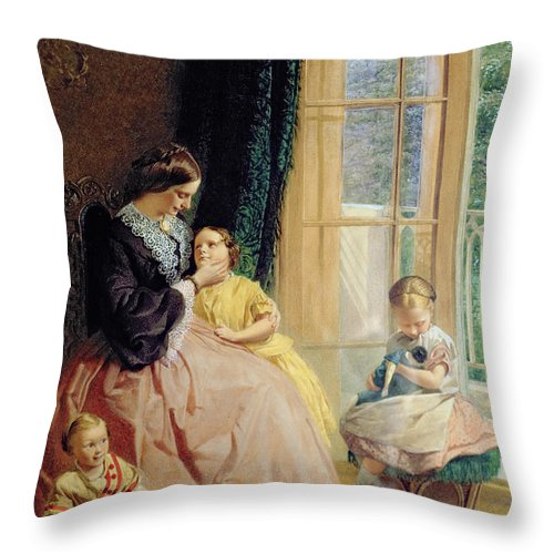 Family Group Throw Pillow featuring the painting Mrs Hicks Mary Rosa And Elgar by George Elgar Hicks
