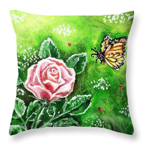 Spring Throw Pillow featuring the painting Ms. Monarch And Her Ladybug Friends by Shana Rowe Jackson