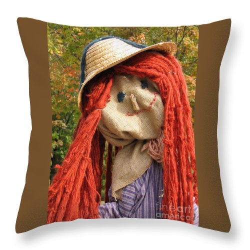 Scarecrow Throw Pillow featuring the photograph Ms Scarecrow by Ann Horn