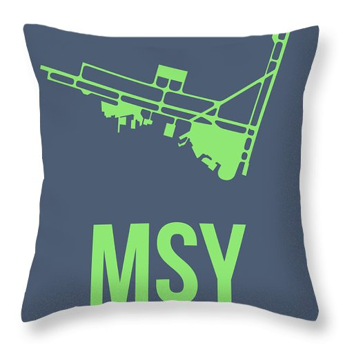 New Orleans Throw Pillow featuring the digital art Msy New Orleans Airport Poster 2 by Naxart Studio