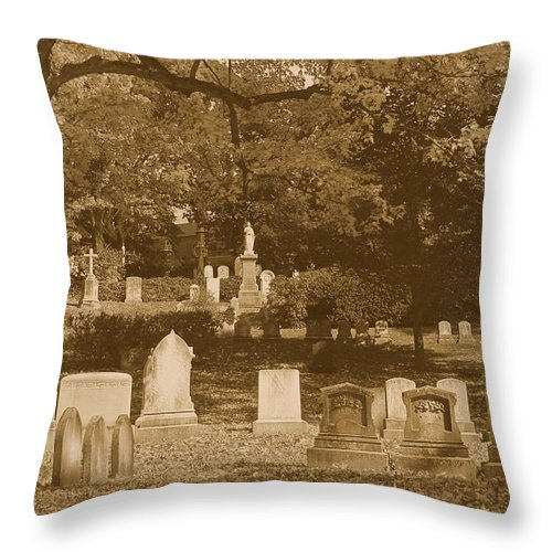 Mt Auburn Cemetery Throw Pillow featuring the photograph Mt Auburn Cemetery 13 Sepia by Michael Saunders