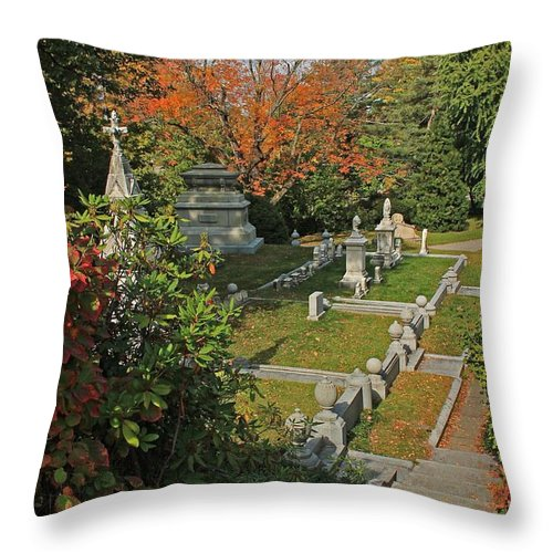 Mt Auburn Cemetery Throw Pillow featuring the photograph Mt Auburn Cemetery 14 by Michael Saunders