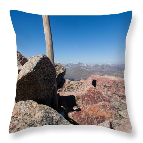 Mt. Bierstadt Summit Throw Pillow featuring the photograph Mt. Bierstadt Summit by Robert VanDerWal