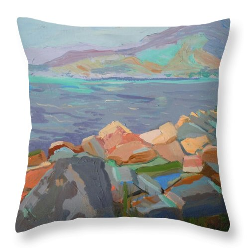 Landscape Throw Pillow featuring the painting Mt. Desert From Schoodic Point by Francine Frank
