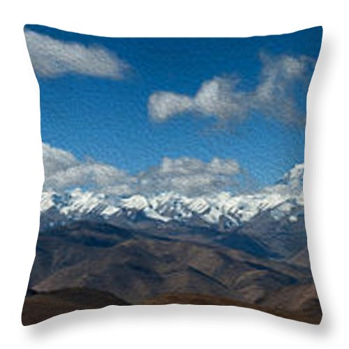 Mountain Throw Pillow featuring the digital art Mt. Everest And Himalaya by Kim Pin Tan