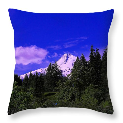 Mountains Throw Pillow featuring the photograph Mt Hood by Jeff Swan