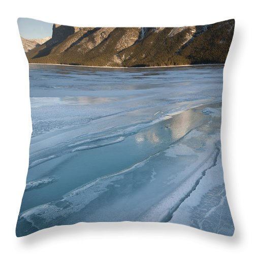 Nature Throw Pillow featuring the photograph Mt. Inglismaldie And Ice Formations by John Shaw