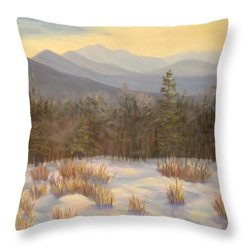 Mt. Lafayette Throw Pillow featuring the painting Mt. Lafayette from Jefferson by Sharon E Allen
