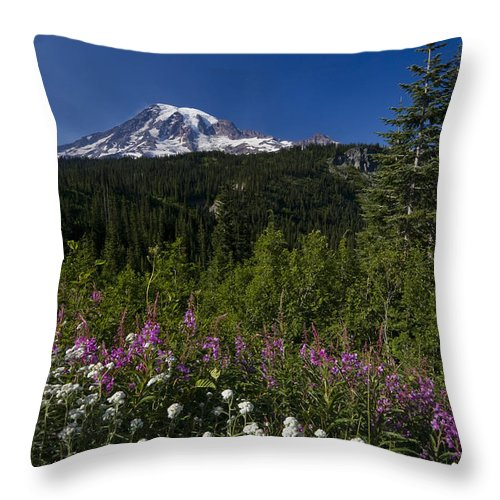 3scape Throw Pillow featuring the photograph Mt. Rainier by Adam Romanowicz