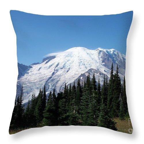 Mt. Rainier In August Throw Pillow featuring the photograph Mt. Rainier In August by Chalet Roome-Rigdon