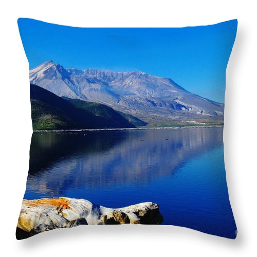 Mountains Throw Pillow featuring the photograph Mt St Helens Reflecting Into Spirit Lake  by Jeff Swan