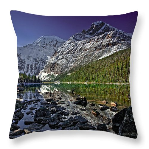 Edith Cavell Throw Pillow featuring the photograph Mt.edith Cavell by Rick Mousseau