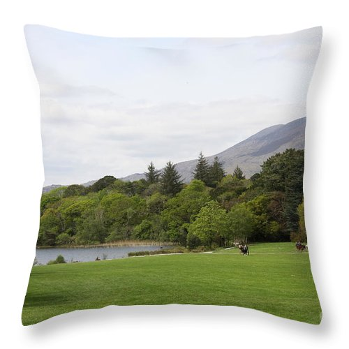 Muckross Lake Throw Pillow featuring the photograph Muckross Lake And Garden by Christiane Schulze Art And Photography