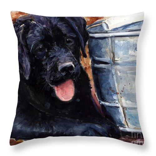 Labrador Retriever Throw Pillow featuring the painting Mud Pies by Molly Poole