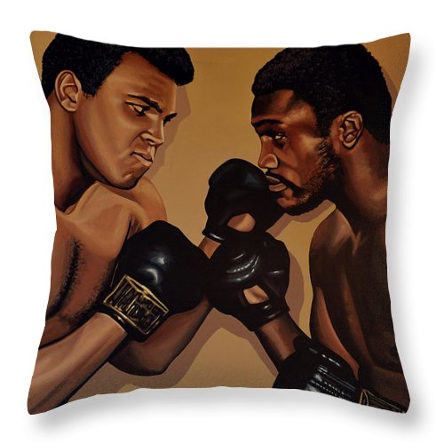 Mohammed Ali Versus Joe Frazier Throw Pillow featuring the painting Muhammad Ali And Joe Frazier by Paul Meijering
