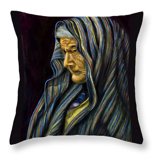 Throw Pillow featuring the painting Mujer Mayor En Rebozo by Pat Haley