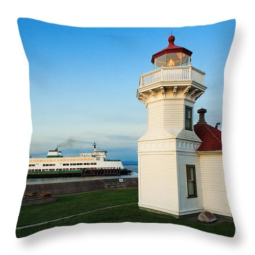 America Throw Pillow featuring the photograph Mukilteo Ferry And Lighthouse by Inge Johnsson