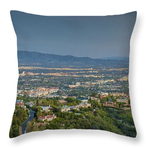 Mulholland Estates; Luxury Homes; Residence; Overlooking Sherman Oaks; San Fernando Valley; Ca Cgi Backgrounds Throw Pillow featuring the photograph Mullholland Estates Luxury Residences San Fernando Valley Ca by David Zanzinger