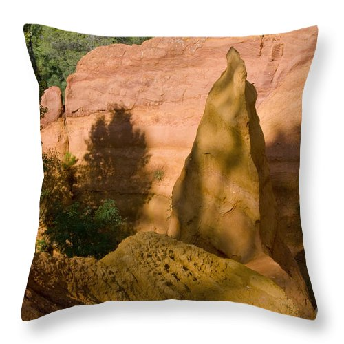 Roussillon France Provence Clay Mine Mines Ochre Pigment Pigments Landscape Landscapes Throw Pillow featuring the photograph Multi-colored Clay by Bob Phillips