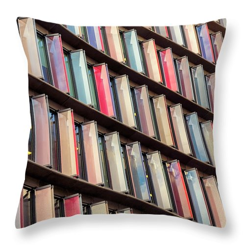 Funky Throw Pillow featuring the photograph Multi Colored Facade Of Modern by Ultraforma