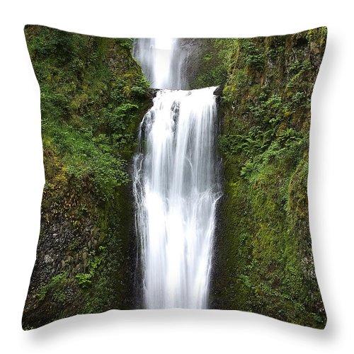 Throw Pillow featuring the photograph Multnoma Falls II by Dan Sabin