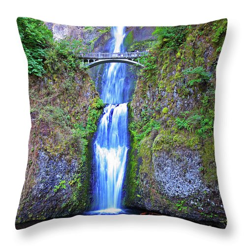 Waterfalls Throw Pillow featuring the photograph Multnomah Falls by Peter Tellone