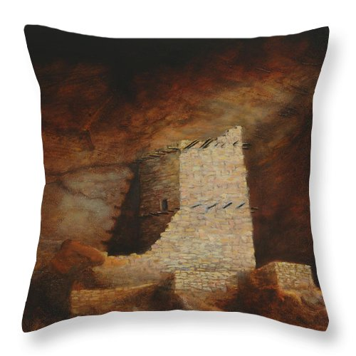 Anasazi Throw Pillow featuring the painting Mummy Cave by Jerry McElroy