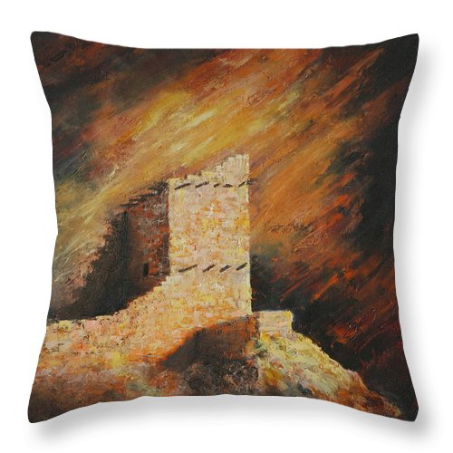 Anasazi Throw Pillow featuring the painting Mummy Cave Ruins 2 by Jerry McElroy