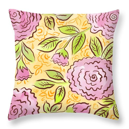 Pink Throw Pillow featuring the digital art Mums And Roses by Elaine Jackson