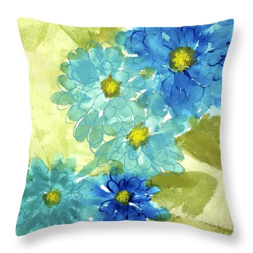 Watercolor Paintings Throw Pillow featuring the painting Mum's The Word II by Chris Paschke