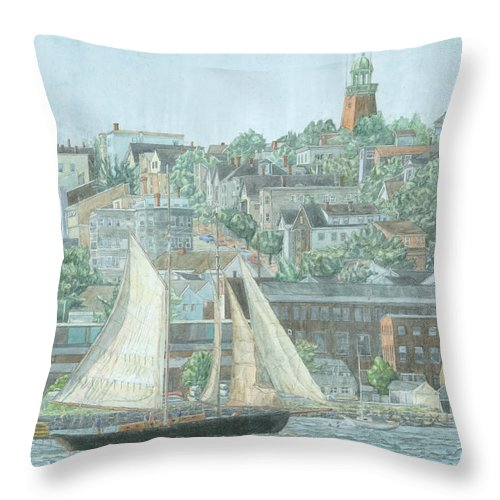 Munjoy Hill Throw Pillow featuring the drawing Munjoy Hill by Dominic White
