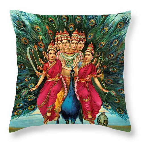 Lithograph Throw Pillow featuring the painting Muragan by Mountain Dreams