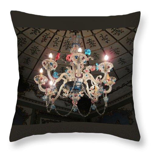 Queluz Palace Throw Pillow featuring the photograph Murano Chandelier by Teresa Ruiz