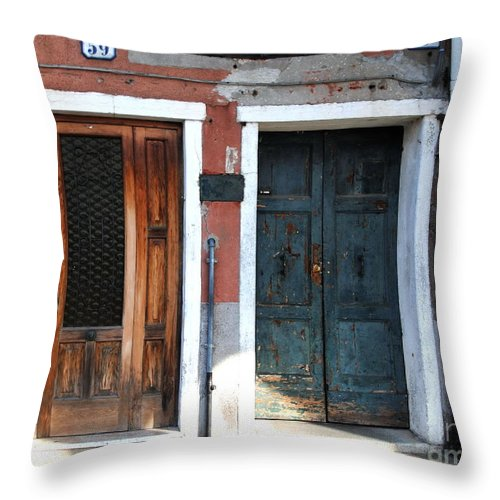 Murano Venice Throw Pillow featuring the photograph Murano Doors by Jacqueline M Lewis