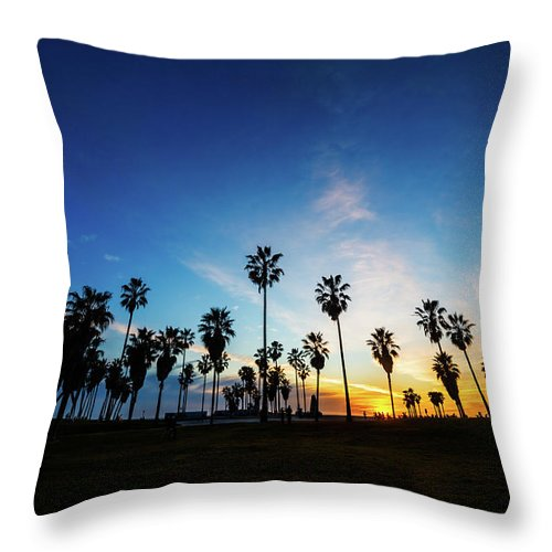 Shadow Throw Pillow featuring the photograph Muscle Beach At Dusk by Extreme-photographer