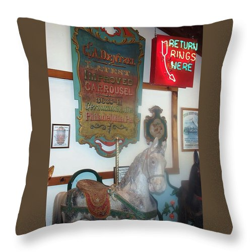 Antique Carousel Throw Pillow featuring the photograph Museum Pieces by Barbara McDevitt